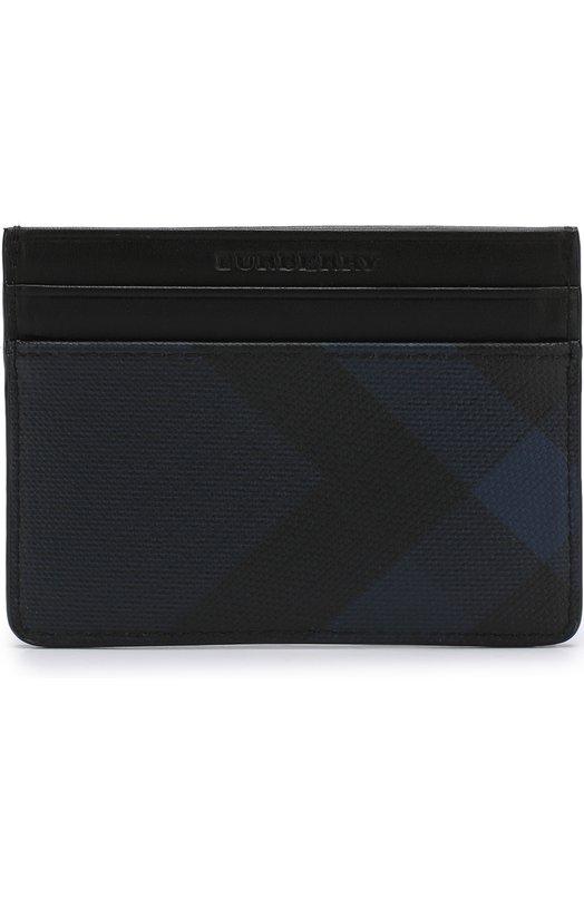 Купить Футляр для кредитных карт с кожаной отделкой Burberry, 3998946, Китай, Синий, Поливинилхлорид: 100%; Отделка кожа натуральная: 100%;