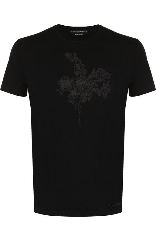 Купить Хлопковая футболка с вышивкой Alexander McQueen, 463984/QKZ63, Италия, Черный, Хлопок: 100%;