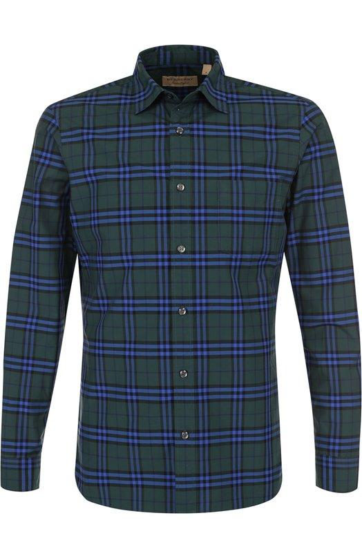 Хлопковая рубашка в клетку Burberry, 4061810, Таиланд, Зеленый, Хлопок: 100%;  - купить