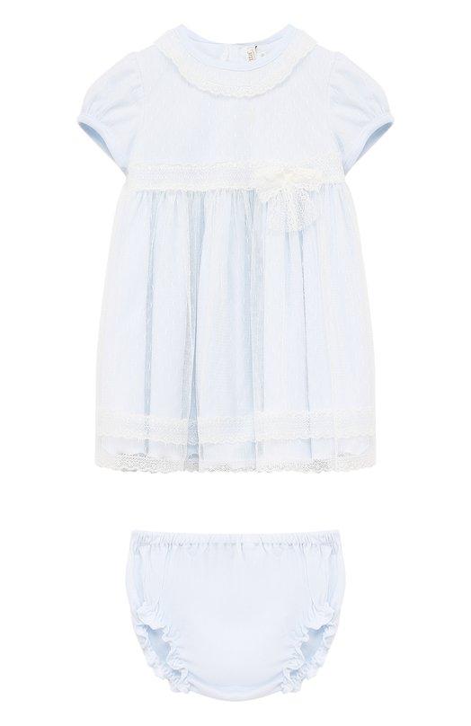 Купить Комплект из платья и трусов из хлопка Aletta, RB88377/24M, Италия, Голубой, Хлопок: 100%; Полиамид: 100%;