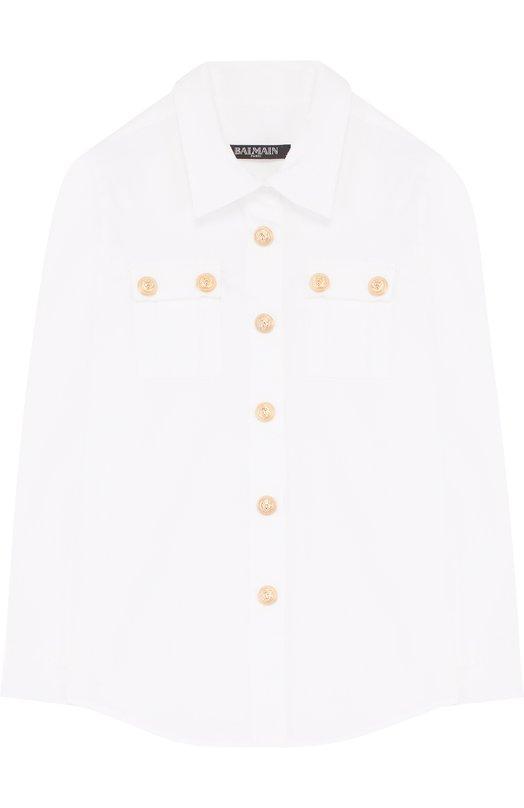 Хлопковая блуза с декоративными пуговицами Balmain