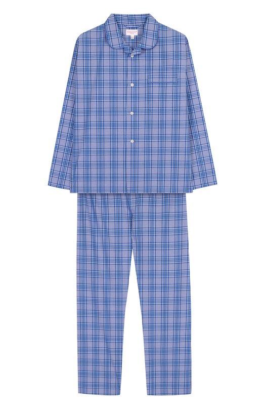 Купить Хлопковая пижама с принтом Derek Rose, 7005-BARK016/13-16, Чехия, Голубой, Хлопок: 100%;