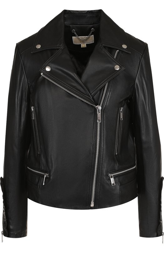 Купить Однотонная кожаная куртка с косой молнией MICHAEL Michael Kors, MH72HTK8FX, Китай, Черный, Подкладка-полиэстер: 97%; Подкладка-эластан: 3%; Кожа натуральная: 100%;