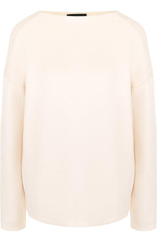 Однотонный вязаный пуловер с вырезом-лодочка Theory, H1029510, Китай, Бежевый, Акрил: 51%; Шерсть: 37%; Полиамид: 12%;  - купить