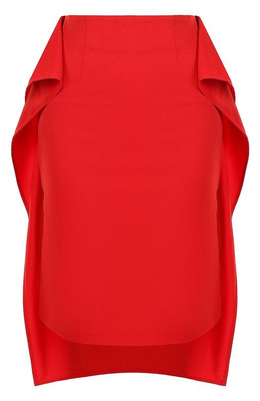 Однотонная юбка асимметричного кроя с оборками Mm6, S52MA0037/S47848, Италия, Красный, Полиэстер: 54%; Шерсть овечья: 44%; Эластан: 2%; - купить