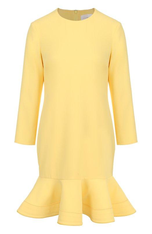 Купить Однотонное мини-платье с оборкой и длинным рукавом Victoria, Victoria Beckham, DRVV 528 PSS18 FLUID CREPE, Португалия, Желтый, Подкладка-шелк: 100%; Полиэстер: 100%;