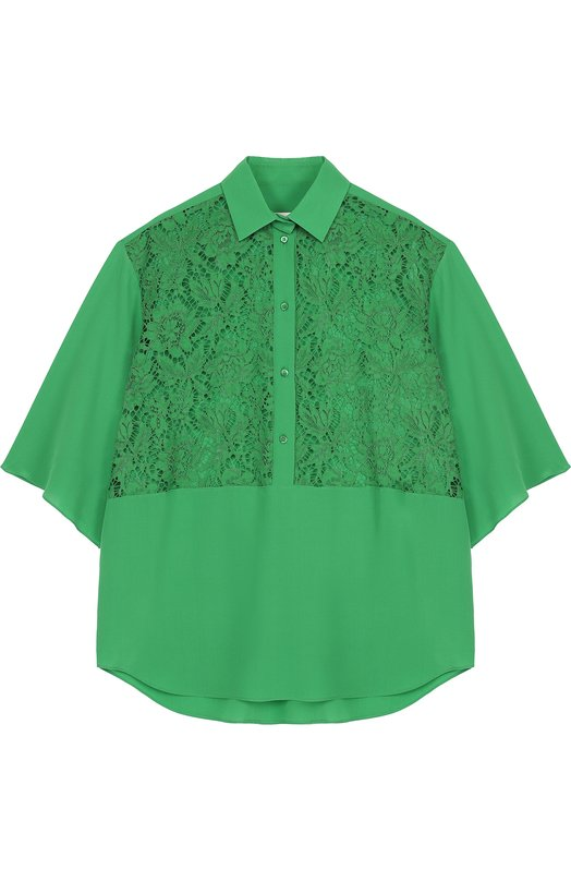 Шелковая блуза свободного кроя с кружевной вставкой Valentino, PB3AA01V/1EC, Италия, Зеленый, Полиамид: 8%; Хлопок: 71%; Вискоза: 21%; Шелк: 100%; - купить