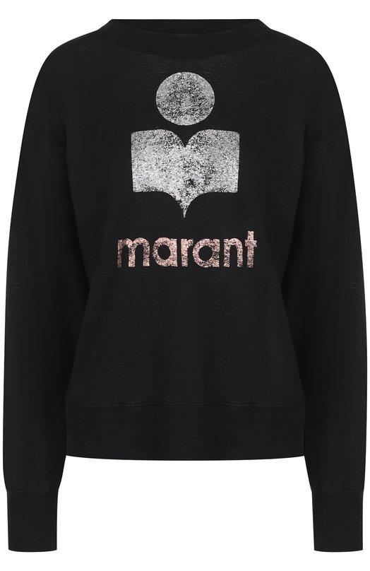 Льняной лонгслив с логотипом бренда Isabel Marant Etoile
