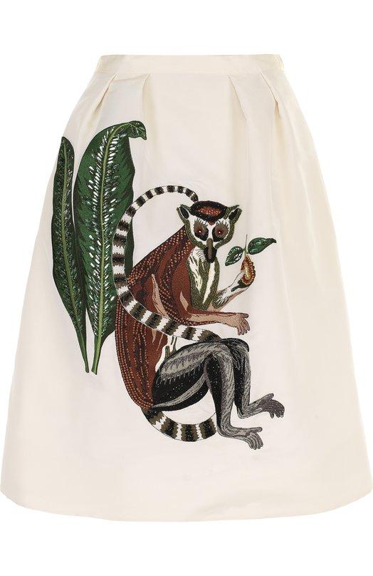 Купить Шелковая юбка-миди с контрастной вышивкой Oscar de la Renta, 18RE431FAI, США, Белый, Шелк: 100%; Подкладка-шелк: 100%;