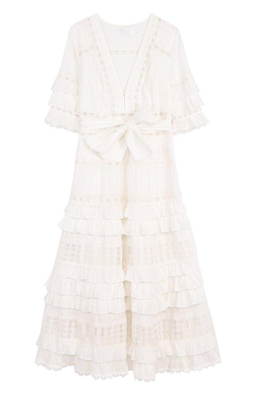 Хлопковое платье-миди с оборками и поясом Zimmermann