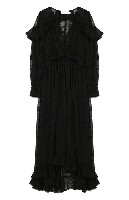 Купить Приталенное шелковое платье-миди с V-образным вырезом Zimmermann, 3456DL0V, Китай, Черный, Полиэстер: 90%; Отделка-вискоза: 100%; Шелк: 100%; Эластан: 10%;