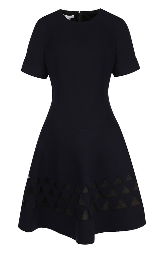 Купить Приталенное шерстяное мини-платье с коротким рукавом Oscar de la Renta, 18RN201STW, Италия, Темно-синий, Шерсть: 95%; Полиамид: 4%; Подкладка-шелк: 100%; Лайкра: 1%;