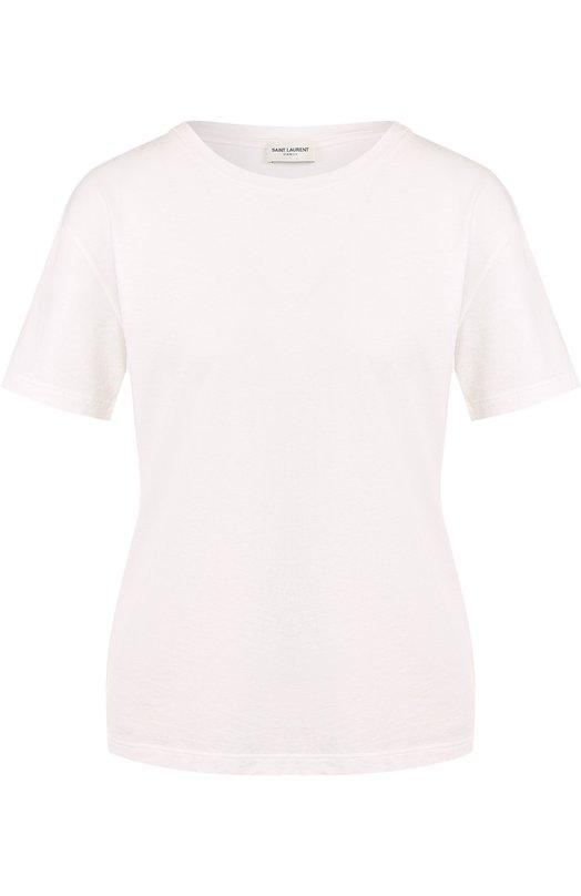 Купить Однотонная хлопковая футболка с круглым вырезом Saint Laurent, 497115/Y2ZJ2, Италия, Белый, Хлопок: 100%;