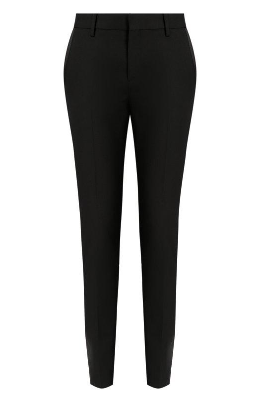 Купить Шерстяные укороченные брюки с карманами Saint Laurent, 369821/Y399W, Италия, Черный, Шерсть: 100%;