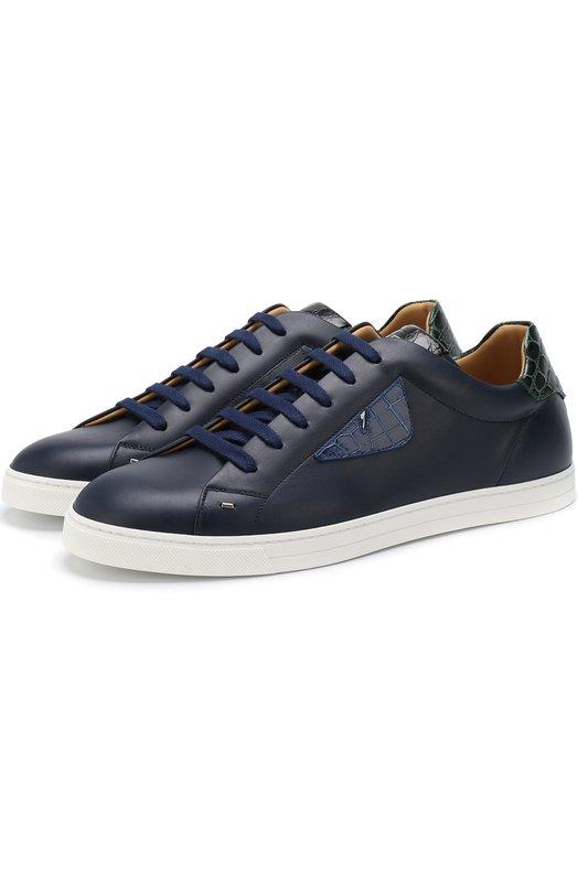 Купить Кожаные кеды на шнуровке с отделкой из кожи каймана Fendi, 7E1108 A1GN, Италия, Темно-синий, Кожа натуральная: 100%; Стелька-кожа: 100%; Подошва-резина: 100%; Отделка кож./кайман/: 100%;