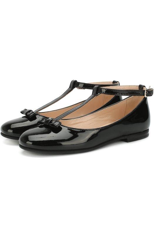 Лаковые туфли с бантом на ремешке Il Gufo