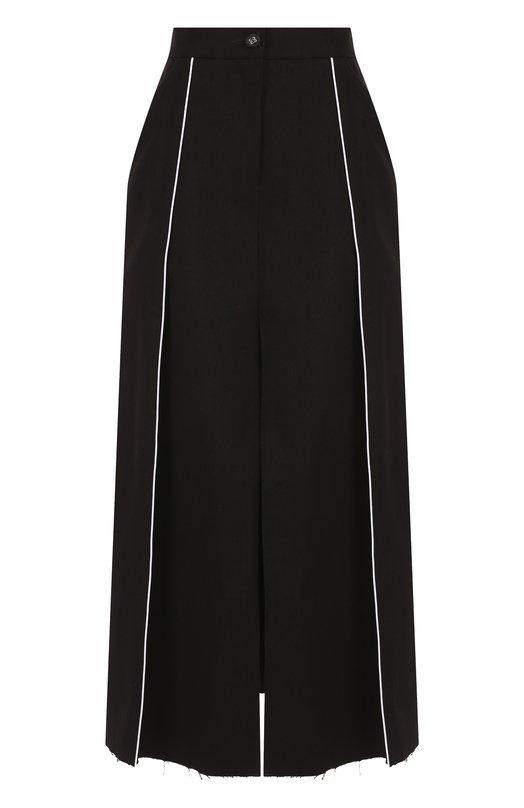 Купить Хлопковая юбка-миди с высоким разрезом Walk of Shame, SK005-PS18, Россия, Черный, Хлопок: 100%;