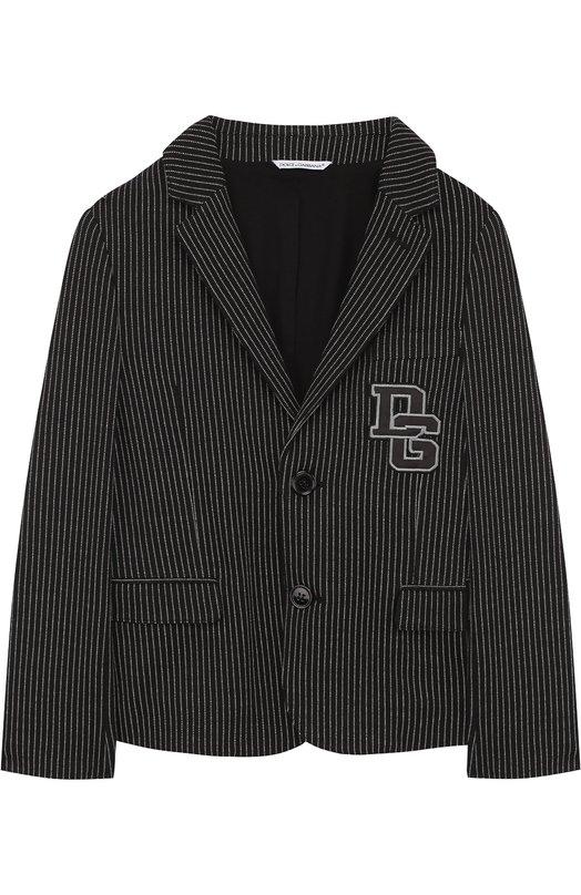 Купить Однобортный пиджак из хлопка и кашемира и нашивкой Dolce & Gabbana, L41E53/FR7B9/8-14, Венгрия, Серый, Хлопок: 90%; Подкладка-хлопок: 60%; Кашемир: 6%; Подкладка-купра: 40%; Полиамид: 4%;