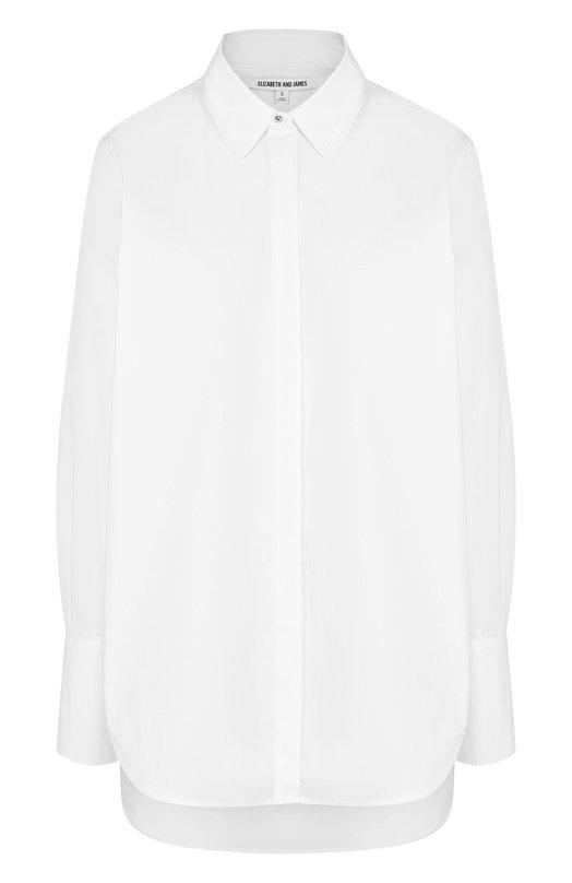 Купить Однотонная хлопковая блуза свободного кроя Elizabeth and James, 417BT426, Китай, Белый, Хлопок: 96%; Эластан: 4%;