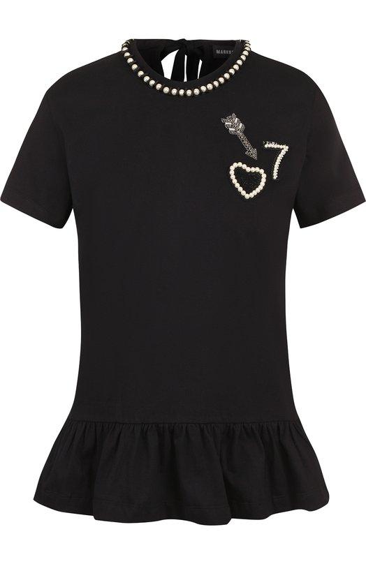 Купить Хлопковая футболка с оборкой и контрастной отделкой Markus Lupfer, TP1272, Индия, Черный, Хлопок: 100%;