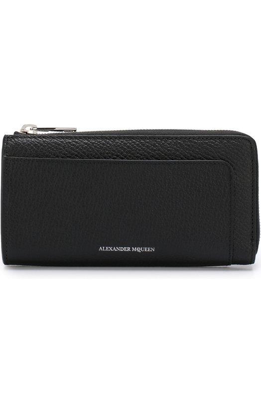 Купить Кожаное портмоне Continental на молнии Alexander McQueen, 500963/0H30N, Италия, Черный, Кожа натуральная: 100%;