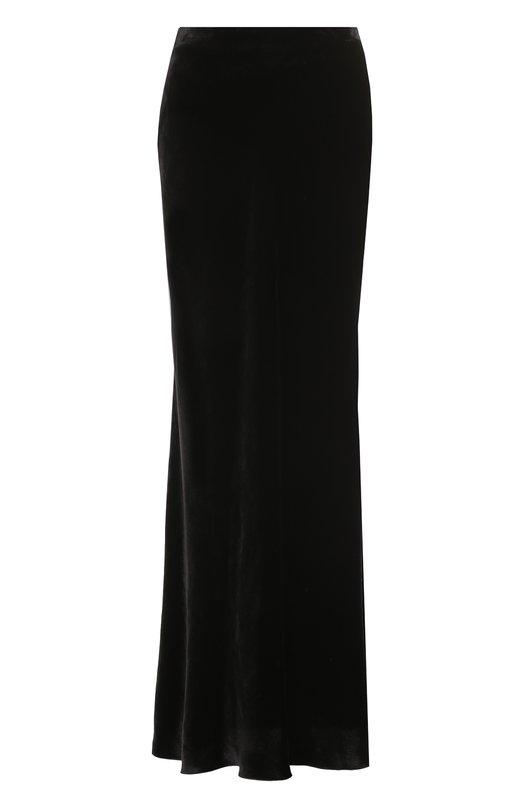 Купить Однотонная бархатная юбка-макси Tegin, SS1838, Россия, Черный, Хлопок: 100%;