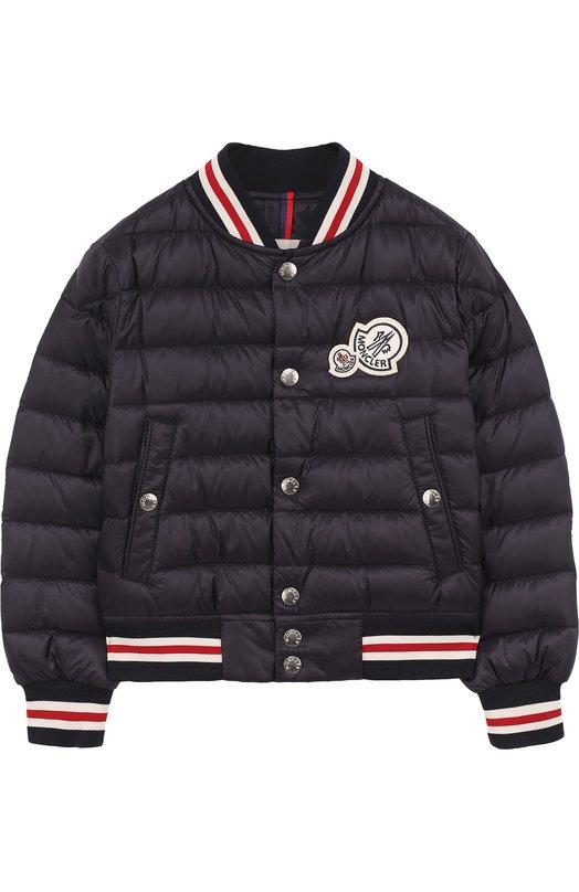 Купить Пуховая куртка-бомбер на кнопках с контрастной отделкой Moncler Enfant, D1-954-40316-99-53334/12-14A, Армения, Темно-синий, Пух: 90%; Полиамид: 100%; Подкладка-полиамид: 100%; Перо: 10%;