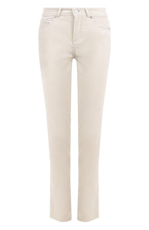 Укороченные бархатные джинсы прямого кроя Loro Piana. Цвет: светло-серый
