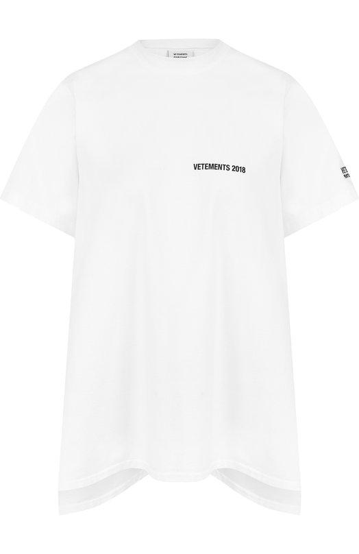 Купить Хлопковая футболка с открытой спиной и принтом Vetements, WSS18TR2, Португалия, Белый, Хлопок: 100%;