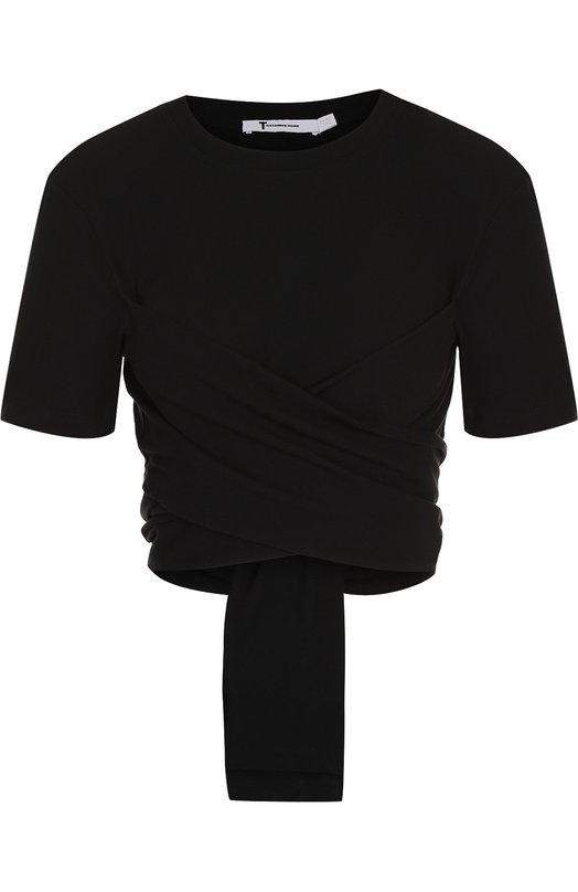 Купить Однотонный хлопковый кроп-топ T by Alexander Wang, 4C481119B0, Вьетнам, Черный, Хлопок: 100%;