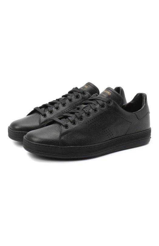 Купить Кожаные кеды на шнуровке Tom Ford, 118J1045N-DAP/117, Италия, Черный, Кожа натуральная: 100%; Стелька-кожа: 100%; Подошва-резина: 100%;