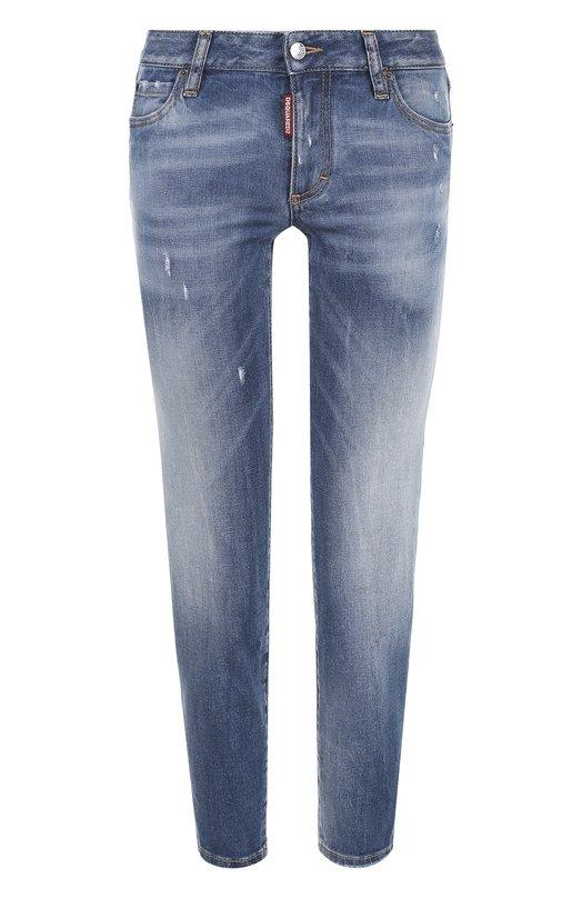 Купить Укороченные джинсы с потертостями Dsquared2, S75LB0005/S30595, Италия, Голубой, Хлопок: 98%; Эластан: 2%;