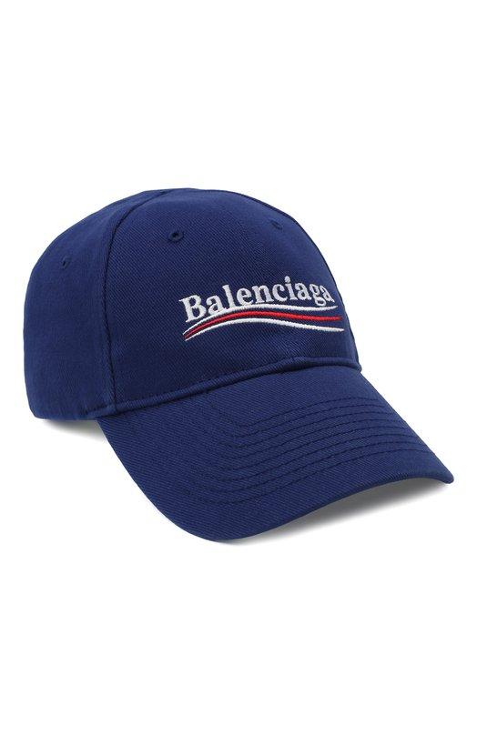 Купить Хлопковая бейсболка с логотипом бренда Balenciaga, 505985/310B5, Италия, Темно-синий, Хлопок: 100%;