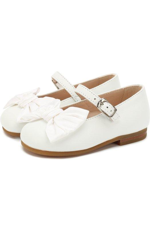 Купить Кожаные туфли с бантами на ремешках Il Gufo, G247/VITELL0 NAPPAC0/18-22, Италия, Белый, Кожа натуральная: 100%; Стелька-кожа: 100%; Подошва-резина: 100%;
