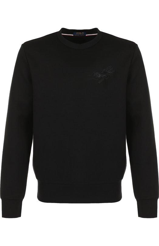 Купить Свитшот из смеси хлопка и вискозы с вышивкой Polo Ralph Lauren, 710688915, Китай, Черный, Полиэстер: 9%; Хлопок: 68%; Эластан: 5%; Вискоза: 18%;