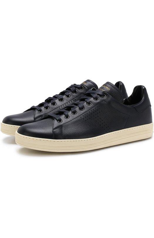 Купить Кожаные кеды на шнуровке Tom Ford, 118J1045T-DAP/117, Италия, Темно-синий, Кожа натуральная: 100%; Стелька-кожа: 100%; Подошва-резина: 100%;