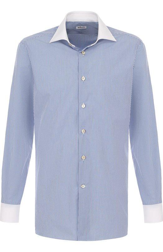 Купить Хлопковая сорочка с воротником акула Kiton, UCIH0601912000, Италия, Голубой, Хлопок: 100%;