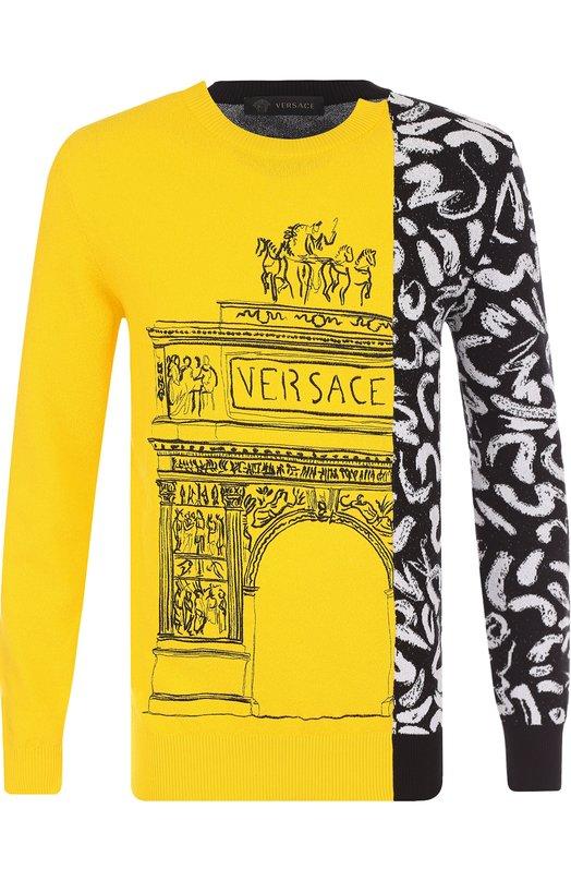 Купить Хлопковый джемпер с принтом и вышивкой Versace, A78666/A224335, Италия, Желтый, Хлопок: 73%; Полиамид: 27%;