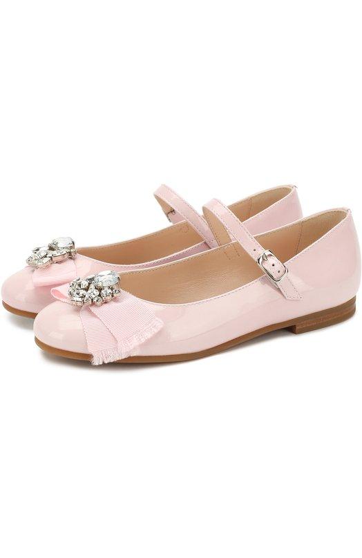 Лаковые туфли с бантом и кристаллами Il Gufo