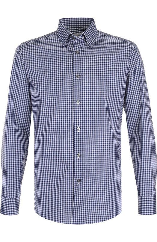 Купить Хлопковая рубашка с воротником кент Brioni, SC130N/P7058, Италия, Темно-синий, Хлопок: 100%;