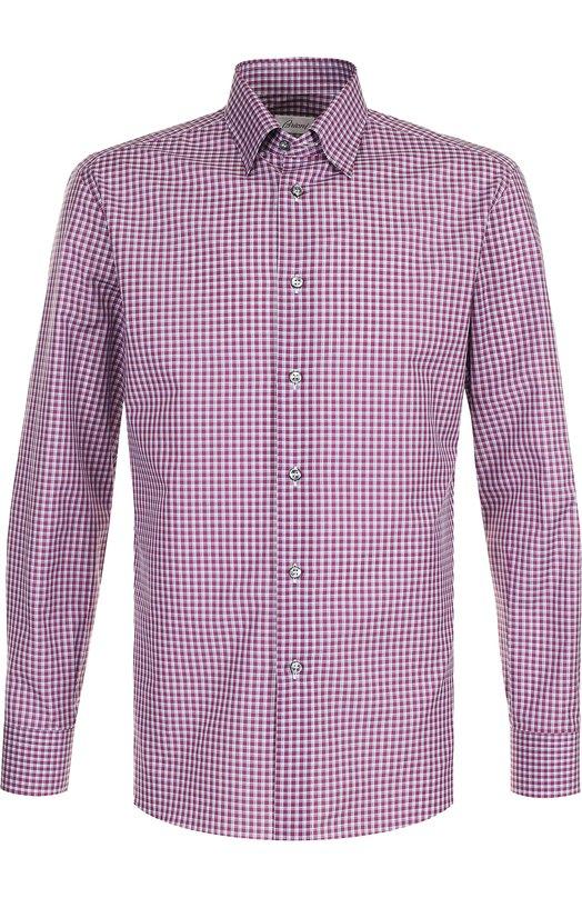 Купить Хлопковая рубашка с воротником кент Brioni, SC130N/P7058, Италия, Бордовый, Хлопок: 100%;