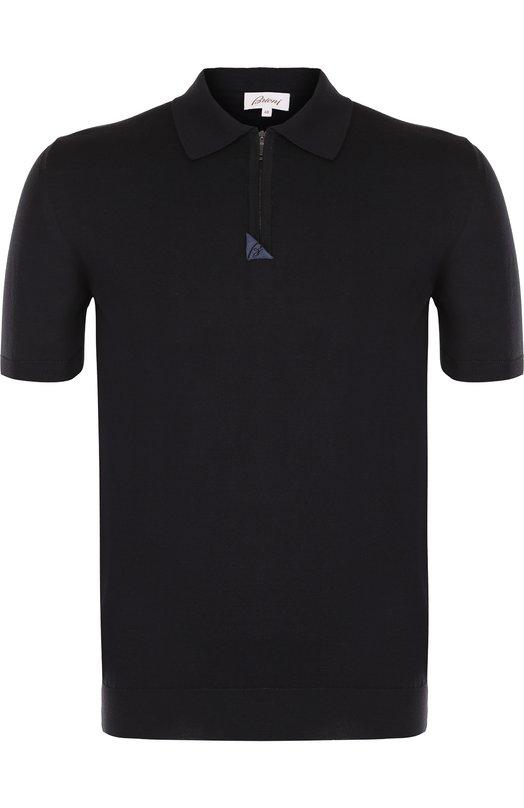 Купить Хлопковое поло с короткими рукавами Brioni, UMDZ0L/P7K02, Италия, Темно-синий, Хлопок: 100%;