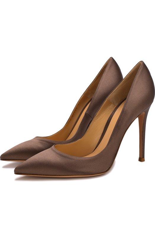 Купить Атласные туфли Gianvito 105 на шпильке Gianvito Rossi, G28470.15RIC.RASMUD., Италия, Коричневый, Стелька-кожа: 100%; Подошва-кожа: 100%; Текстиль: 100%;