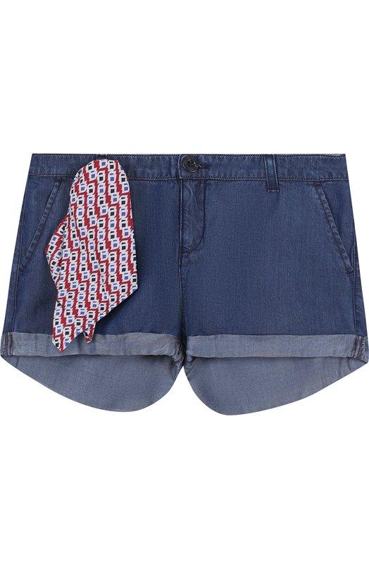 Купить Мини-шорты с декоративным платком Armani Junior, 3Z3S08/3D0NZ/4A-10A, Румыния, Синий, Вискоза: 100%;