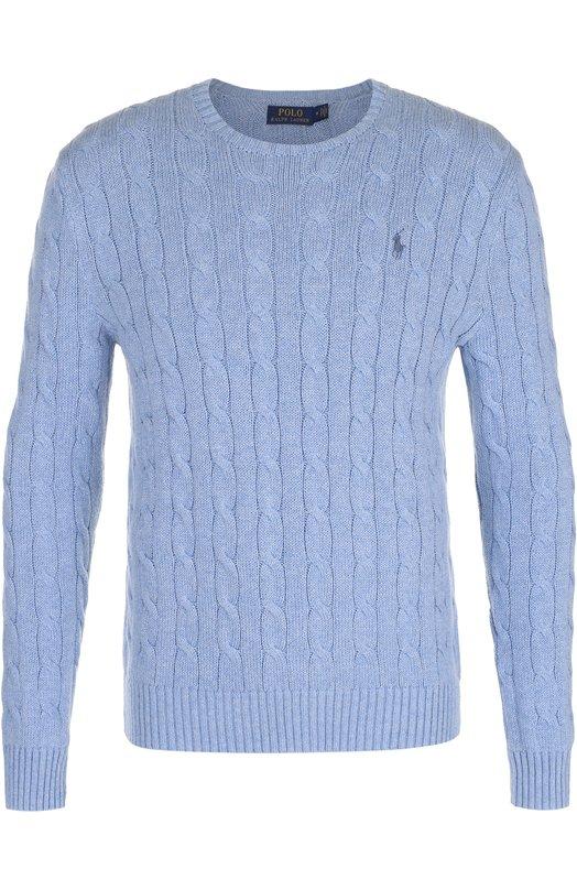 Купить Хлопковый джемпер фактурной вязки Polo Ralph Lauren, 710529074, Китай, Голубой, Хлопок: 100%;