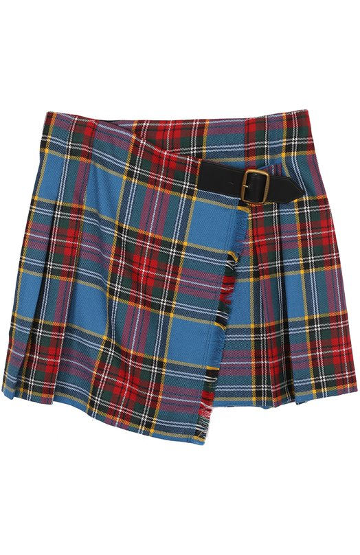 Купить Шерстяная мини-юбка с принтом асимметричного кроя Burberry, 4063106, Китай, Разноцветный, Шерсть: 100%; Подкладка-полиэстер: 100%;
