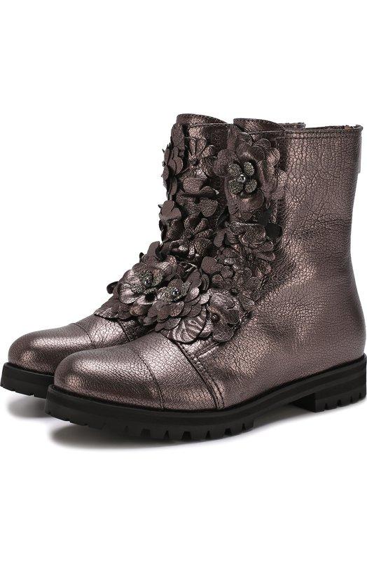 Купить Кожаные ботинки с цветочной аппликацией Jimmy Choo, HAVANA FLAT/IFA, Италия, Бронзовый, Кожа натуральная: 100%; Стелька-кожа: 100%; Подошва-резина: 100%;