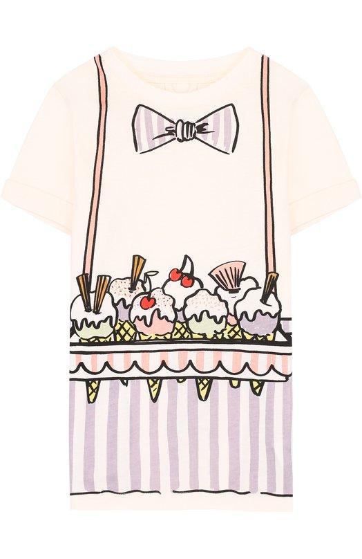 Купить Хлопковое мини-платье прямого кроя с принтом Stella McCartney, 489998/SKJE4, Китай, Бежевый, Хлопок: 100%;