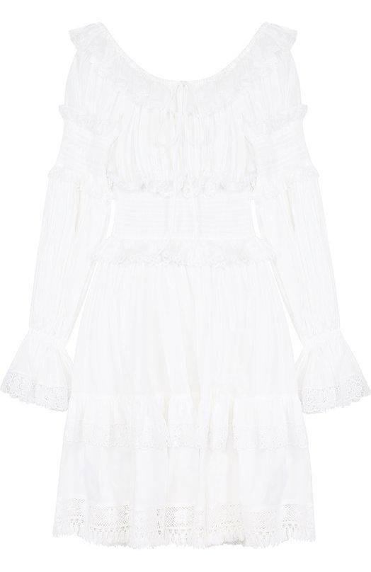 Купить Приталенное хлопковое мини-платье с оборками Dolce & Gabbana, F68A9T/FU5E3, Италия, Белый, Хлопок: 98%; Полиамид: 2%;