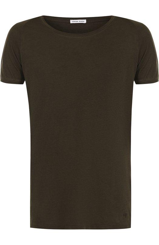 Купить Хлопковая футболка с круглым вырезом Tomas Maier, 495820/M0990, Италия, Зеленый, Хлопок: 100%;